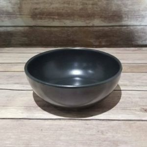 Vtg Black Ceramic Salad Bowl Mottled Glaze